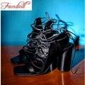 Mulheres da moda sandálias de salto alto peep toe sexy sandálias gladiador sapatos de verão de couro genuíno das mulheres sapatos pretos mulher szie 34-43