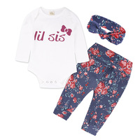 Spring Autumn Children Baby Boy Girl Clothing Sets Long Sleeve Cotton Rompers Pants Hat 3pcs Kids