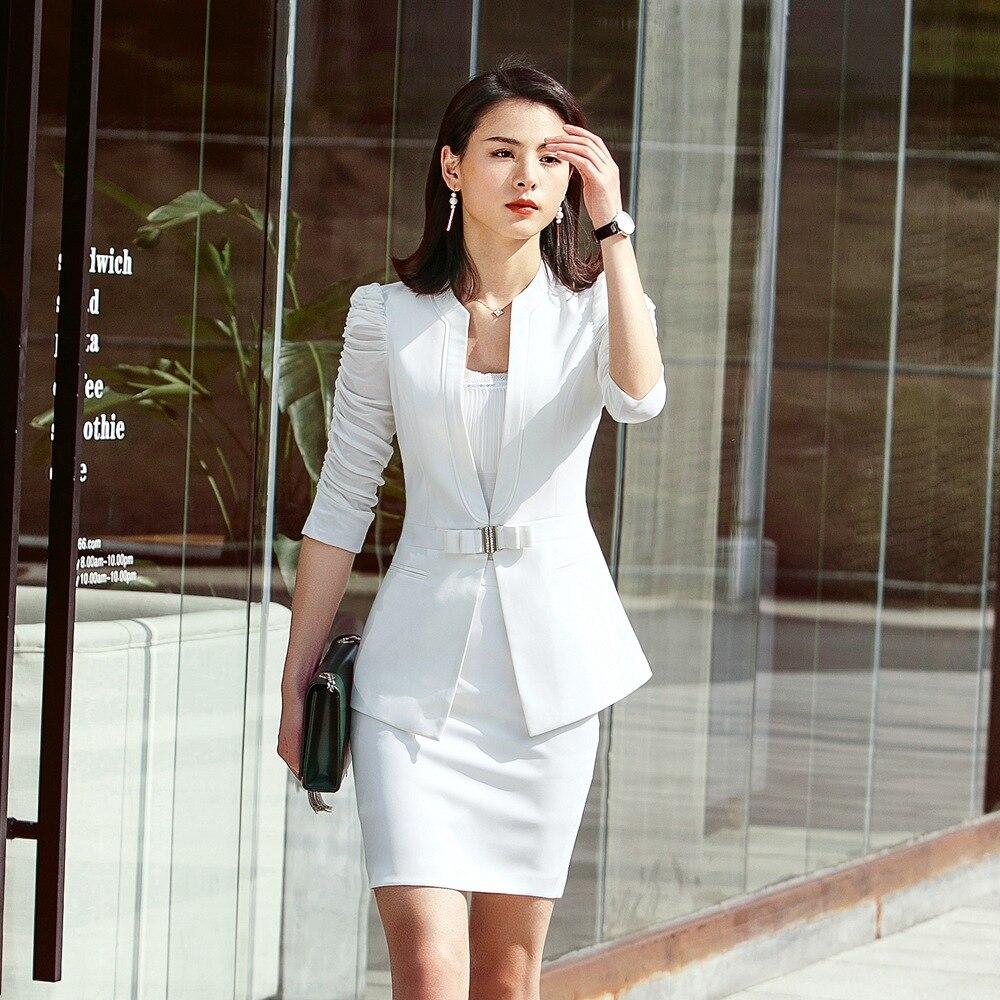 Manches Jupe black Blazer black Office Veste Fmasuth 2 Suit Ensemble white Pcs 3 Blazer Longue white 111ky9961m Costume White Noire Pant Suit Camisoles Skirt Moitié Blanc 2 Lady Suit IUI0qwAx