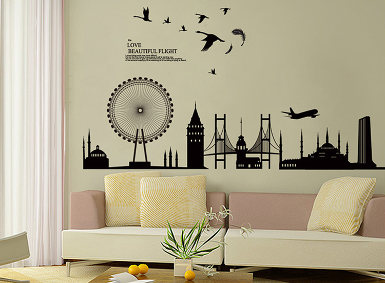 New city silhouette background large wall stickers diy black posters art decals vinyl sticker for home decoration in wall stickers from home garden on