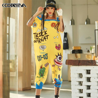 Fashion Street Personality Loose Jumpsuits Women Hip hop Pocket Jumpsuits Summer Harajuku Cartoon Print Suspenders Cropped Pants