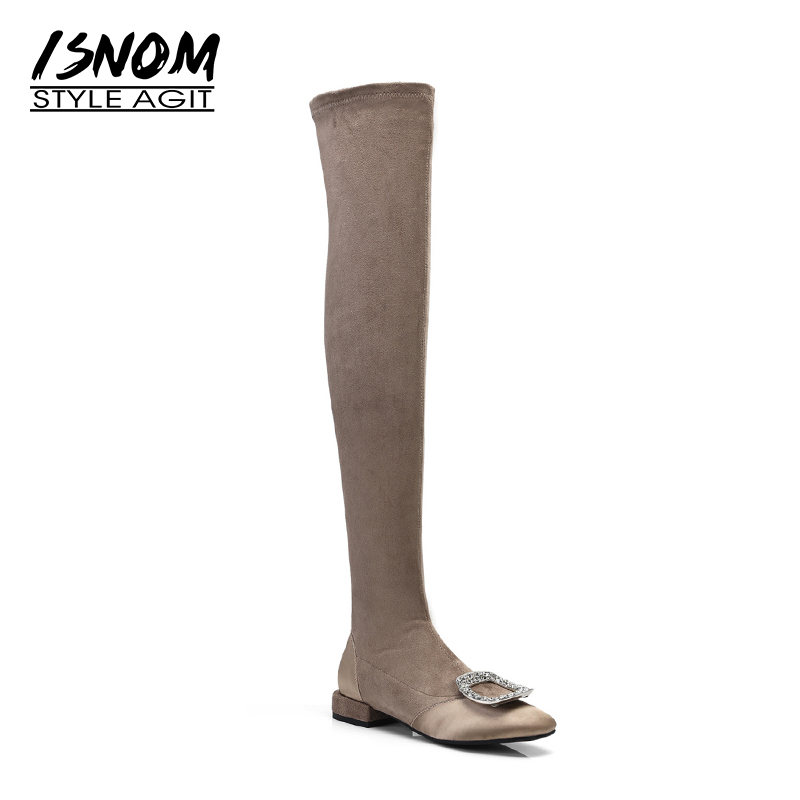 ISNOM Thick Heels Woman Boots Stretch Over The Knee Boots Satin Crystal Women Shoes 2018 New