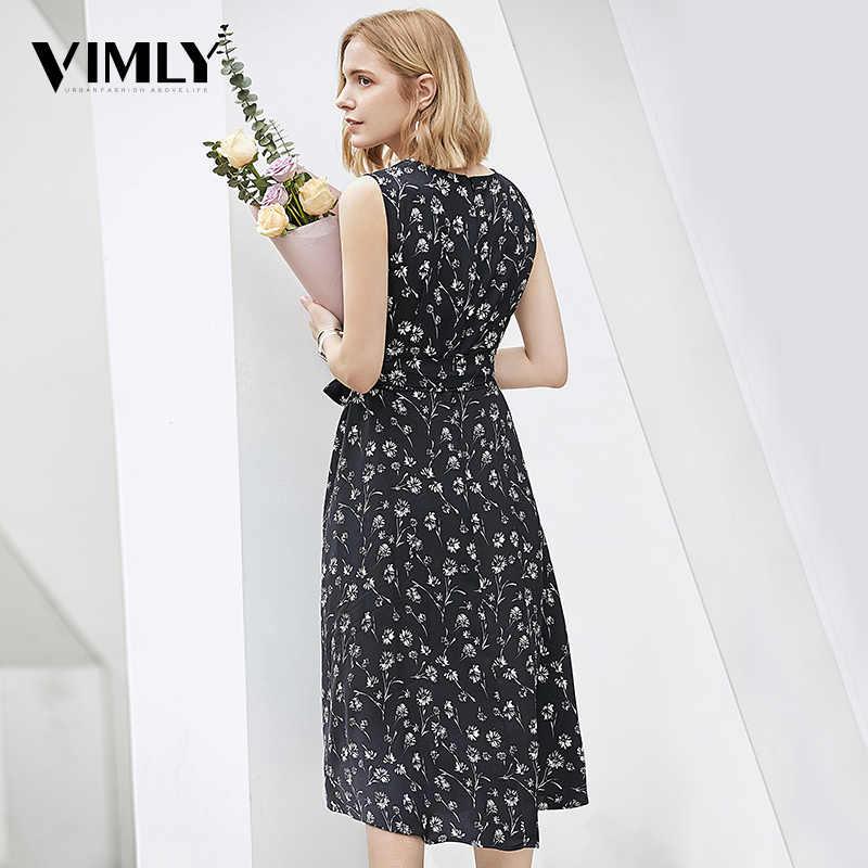 Vimly Chiffon Print Dress Summer Female Sleeveless Black Floral Dresses High Waist Elegant A Line Dresses Fashion Street wear