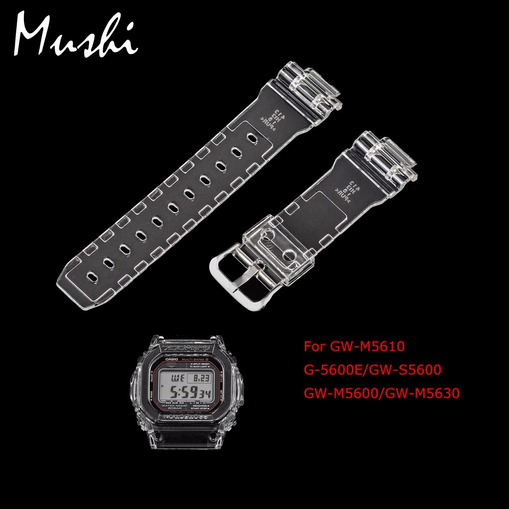 MS Watch Strap for Casio 5600 Series GW-M5610 G-5600E GW-S5600 Transparent Men Watchband Pin Buckle Watch band Watch Case + Tool часы casio gw m5610 1e