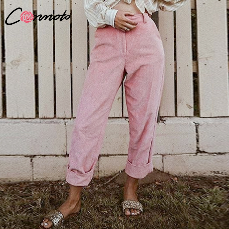 Conmoto Autumn Winter High Waist Corduroy Casual   Pants   Solid High Street Fashion Trousers Loose   Pants     Capris   Women