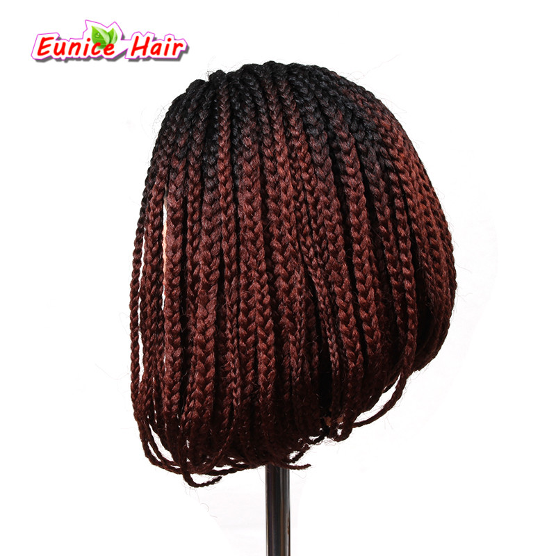 10-16inch Ombre Bob Synthetic Lace Front Wig with Baby hair Colored Braided Box Braids w ...