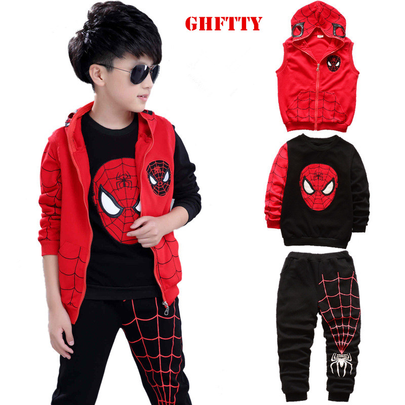 Baby boy clothes autumn winter cotton Suit For Boys clothes spider man 3pcs Costumes sports suit sweater kids clothes tracksuit eaboutique new winter boys clothes sports suit fashion letter print cotton baby boy clothing set kids tracksuit