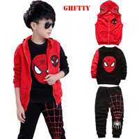 2017 New Spring Suits Childrens Boys Children In Spring And Autumn Spider Man Three Sets Of