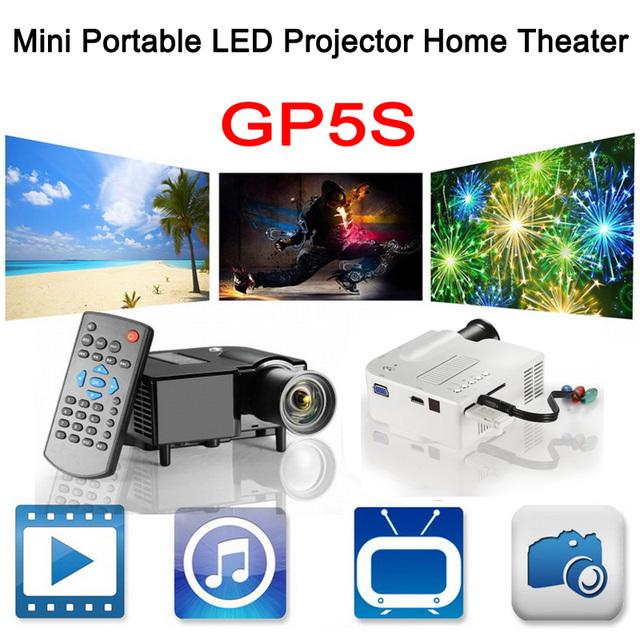 DHL libre HD Digital Mini Portátil LCD LED Proyector GP5S HDMI VGA Multimedia USB SD 1080 P Full HD de Cine En Casa TV PK UC28