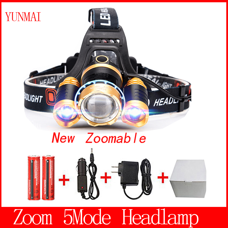 T6 Xm L 2Q5 Led Headlight 8000Lm Headlamp Flashlight Head Torch Linterna Cree Xml T6 18650