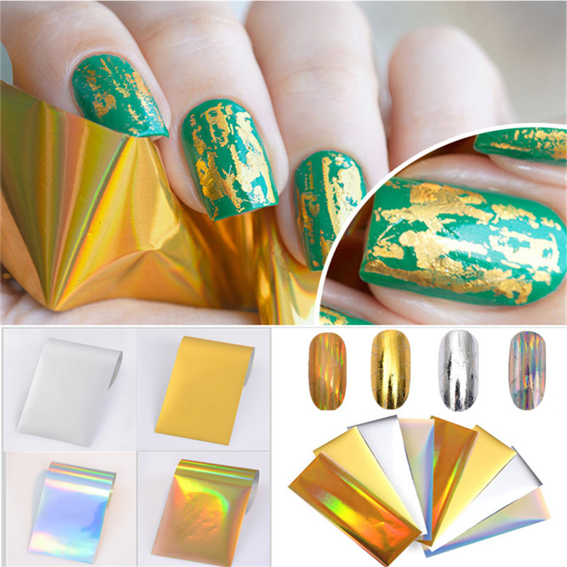 8Pcs Laser Starry Nail Foil Holographic Gold Silver Paper Decals Manicure Nail Art Sticker 4*10cm Nail Tools gold holographic nail wraps adhesive laser flower leaf star circle full 3d nail sticker