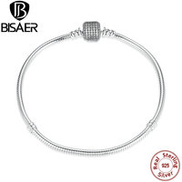 New Collection 100% 925 Sterling Silver Square Link Snake Chain Bracelet & Bangle Four Sizes Sterling Silver Original Jewelry