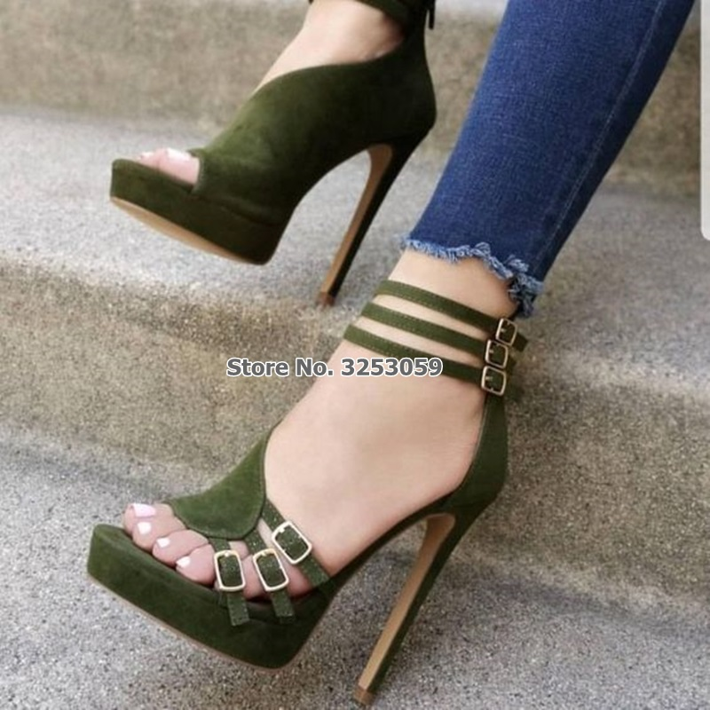 Khaki Green suedette high heel sandals with ankle strap