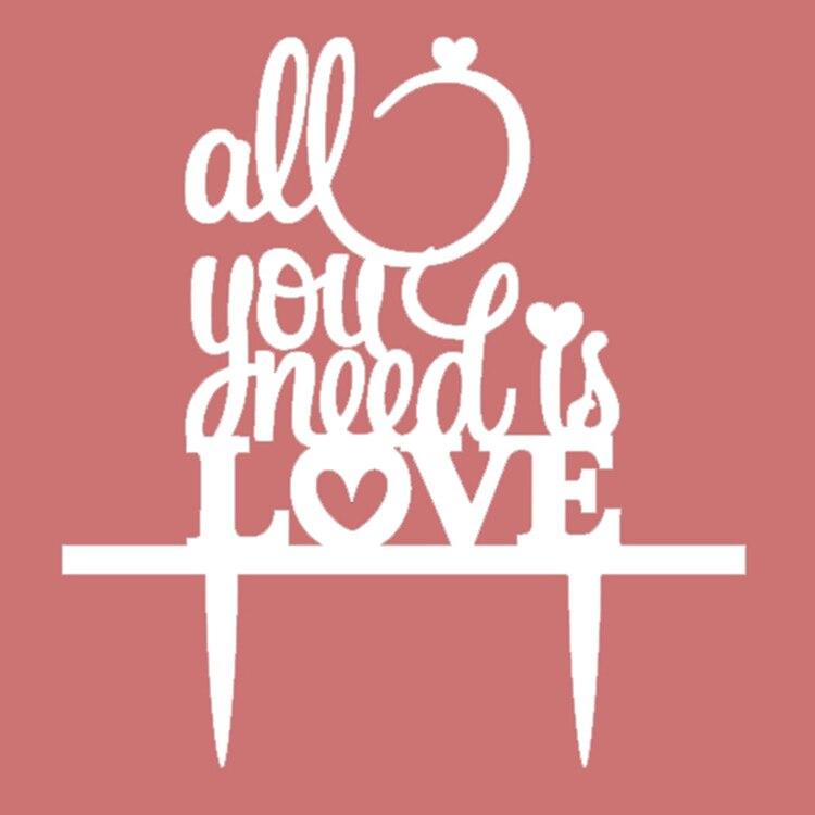 Creative All You Need Is Love Akrilna torta zastave Toppers Angleška - Prazniki in zabave