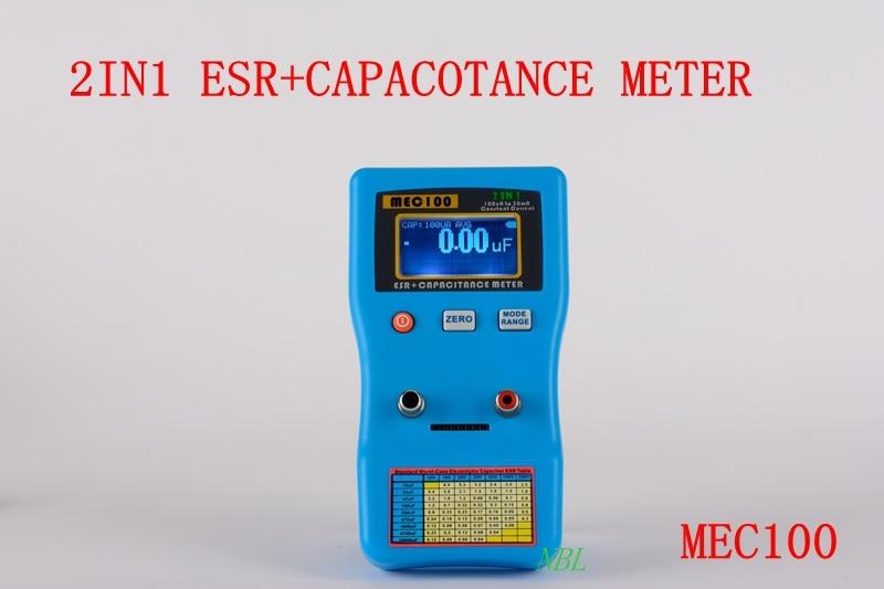2IN1 állandóáramú ESR + MEC100 V1 kondenzátoros kondenzátor ESR alacsony ohm- és kapacitásmérő, 100vA - 50mA