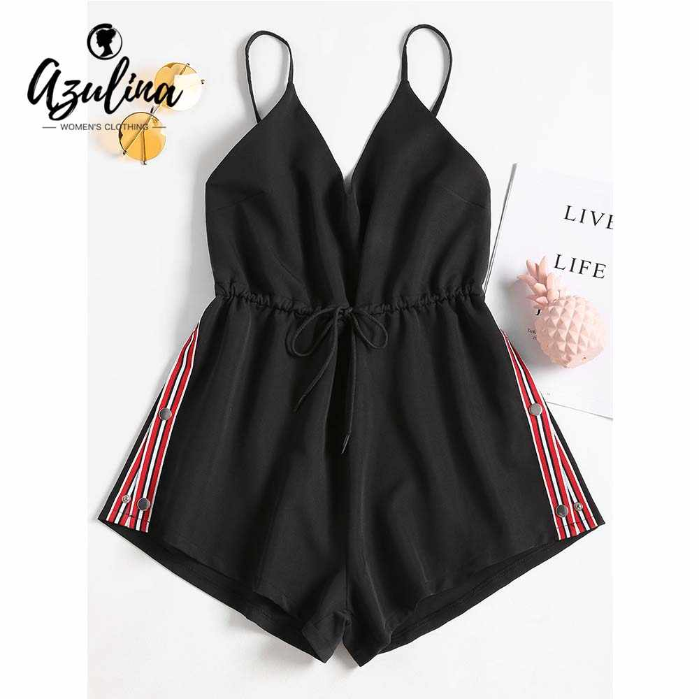 c0ca63c82c9 AZULINA Striped Patched Drawstring Romper Summer Women Jumpsuit 2018 Casual Spaghetti  Strap Sleeveless Palysuits Ladies Overalls