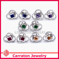 Carraton ESQDX2048 Colorful CZ Diamond Pure 925 Silver Women's Stud Earrings