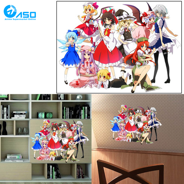Japanese anime wall sticker car sticker touhou project reimu hakurei loli full color decorative pvc wall