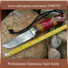 DT037 2016 Fixed camping knife Damascus Steel Blade Straight Hunting Knife With Leather Sheath cuchillo de supervivencia militar