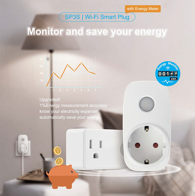Broadlink SP3S EU/US Energie Monitor Smart Draadloze WiFi Socket Afstandsbediening Met Power Meter Controle Door IOS Android 2
