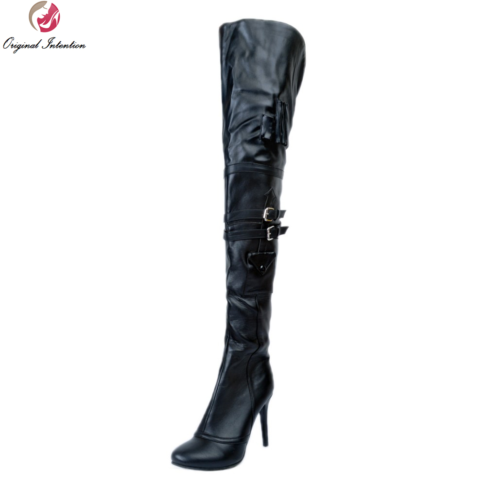 Original Intention Cool Women Over-the-Knee Boots Stylish Round Toe Thin High Heels Boots Sexy Black Shoes Woman US Size 4-15 new arrival sexy over the knee boots women platform round toe thin high heels boots black white shoes woman winter