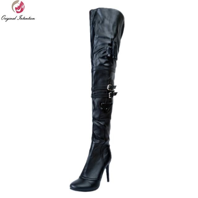 64bdd4d3ea0 Original Intention Cool Women Over-the-Knee Boots Stylish Round Toe Thin  High Heels Boots Sexy Black Shoes Woman US Size 4-15