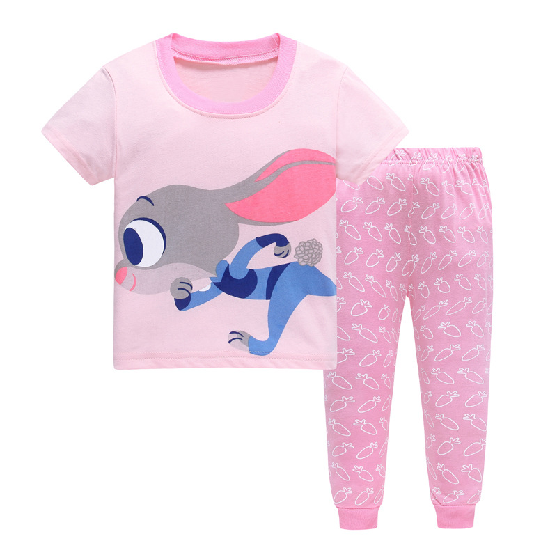 Baby Girls Pajama Set T-shirts Pink Rabbit Pants 100% Cotton Kid pijama Girl clothes children Sleepwear Top Quality