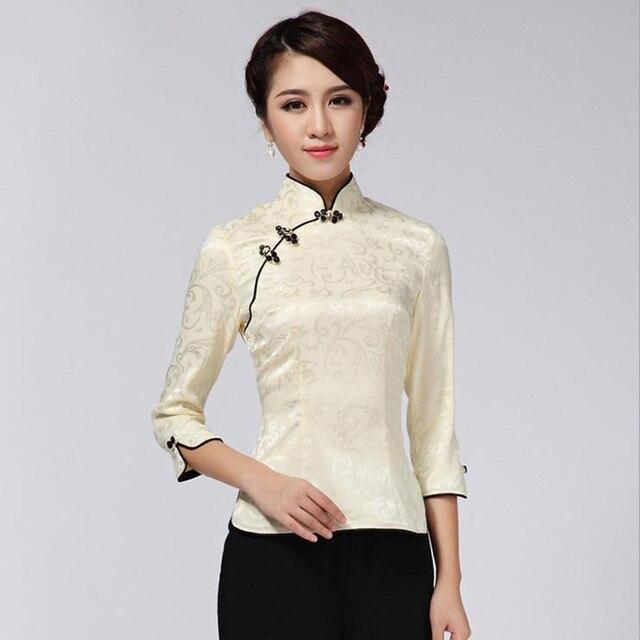 860fe61c5d30d Zielone światło chiński rocznika kobiety bawełniane koszula stójka bluzka  kwiaty Tang garnitur góry rozmiar S M L XL
