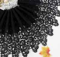 32cm de largura elegante preto algodão bordado tecido de fita de renda 3d guarnição colar costura diy borla feminino vestido pano decoração casamento