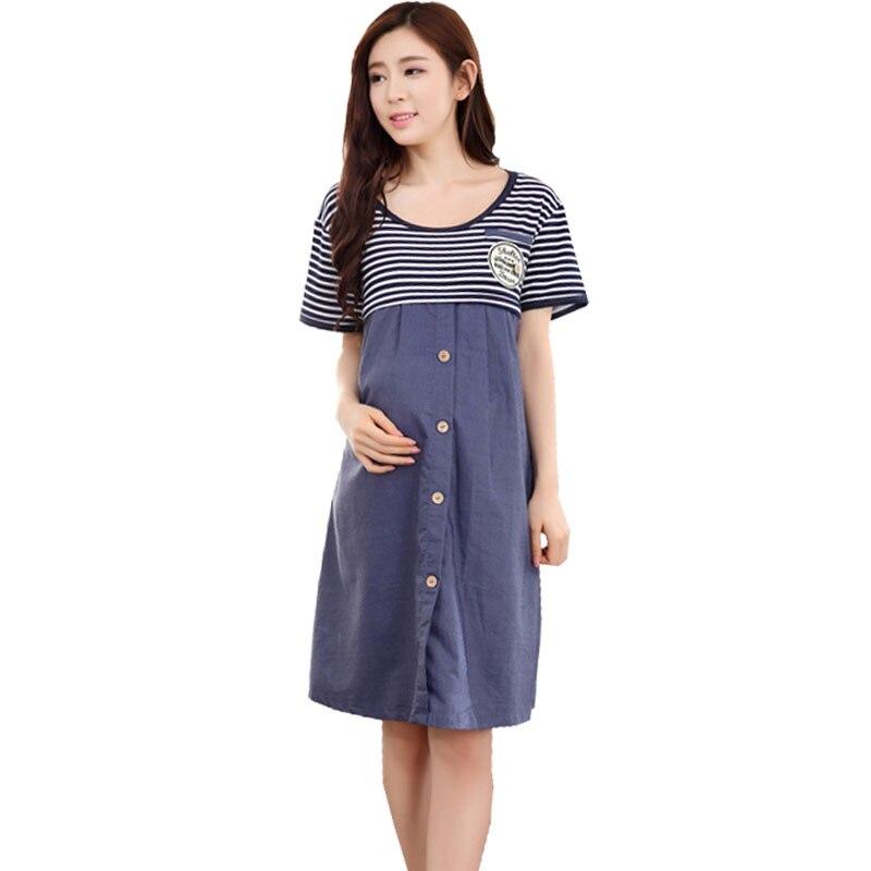 Nursing Dresses Maternity Breastfeeding Clothes For Pregnant Women Short Sleeve Striped Feeding Vestido Pregnancy Clothing