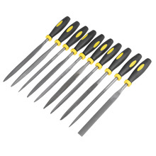 UXCELL Newest 10PCS 5mm x 180mm Smooth Cut Bearing Steel Needle File Set, Shape Steel, Glass, Tile, Stone, Metal w Rubber Handle