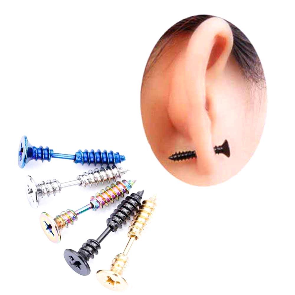2017 Hot Sale 1 pcs Punk Style Stainless Steel Screw Stud Earrings Mens Punk Ear Jewelry Rock Gothic Unisex Piercing Earring
