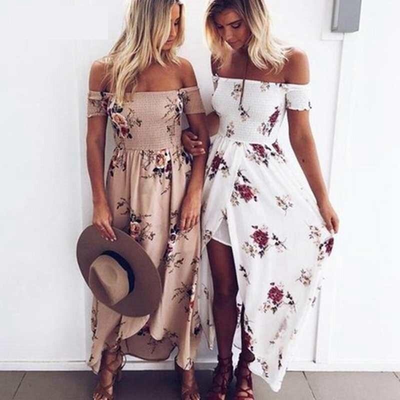 LAAMEI Women Slash Neck Floral Printed Boho Dress Fashion Beach Summer Dresses Ladies Strapless Long Maxi Dress Vestidos S-5XL