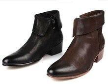Высокое качество черный/коричневый загар натуральная кожа мужские ботинки 2017 мото обувь повседневная бизнес сапоги мужские офисные туфли