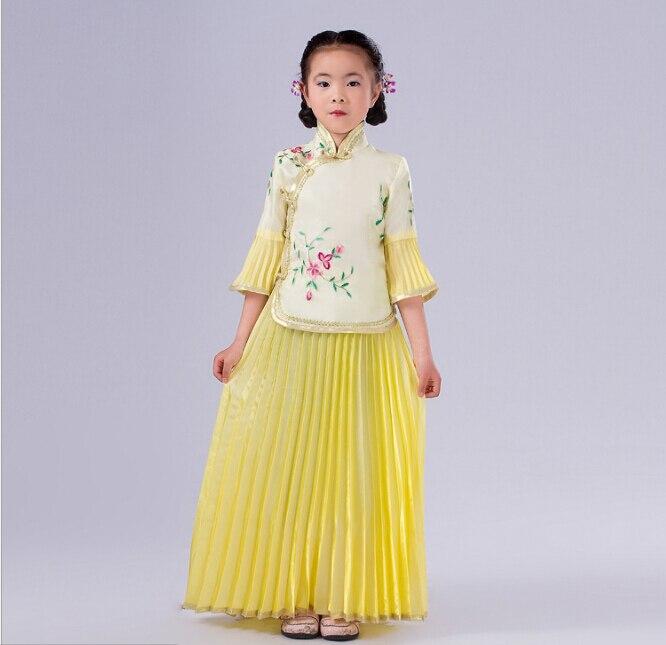 Novo otroško kitajsko tradicionalno nošo Top + krilo 2 kos Dekle - Odrska in plesna oblačila