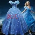 2015 Chegada Nova Custom Made Adulto Cinderela Vestido de Trajes Para As Mulheres Fantasia Halloween Vestido de Festa Azul Vestido de Cinderela
