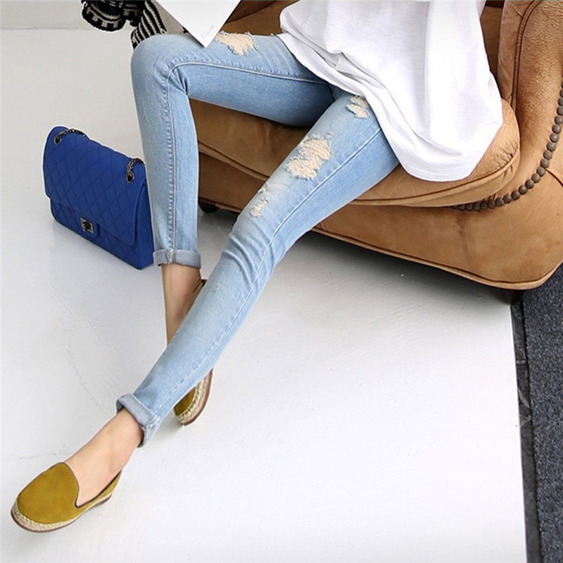 Spring New Nine-hole Elastic Maternity Pants Pregnancy Denim Jeans Clothes for Pregnant Women Belly Pants Trousers Hot Sale