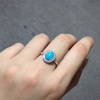 Haleigha 925 Sterling Silver Oval Real Nature Blue Turquoise 5 7mm White Gold Color Classical High