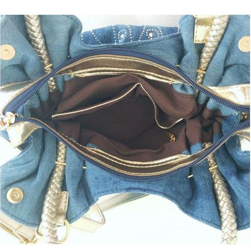Image 5 - iPinee Luxury Women Demin Handbag Women Messenger Bag Female  Jeans Shoulder Bag Womens Rivet Bags sac a mainsac ahandbag  womenrivet bag