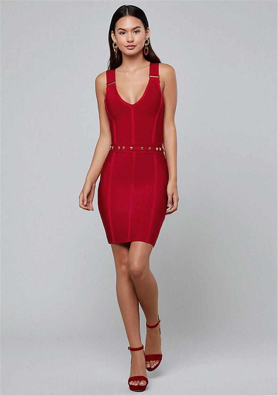 Réservoirs rouges robes pour femmes col en V bouton rayonne Mini robe Bandage robe de soirée - 2