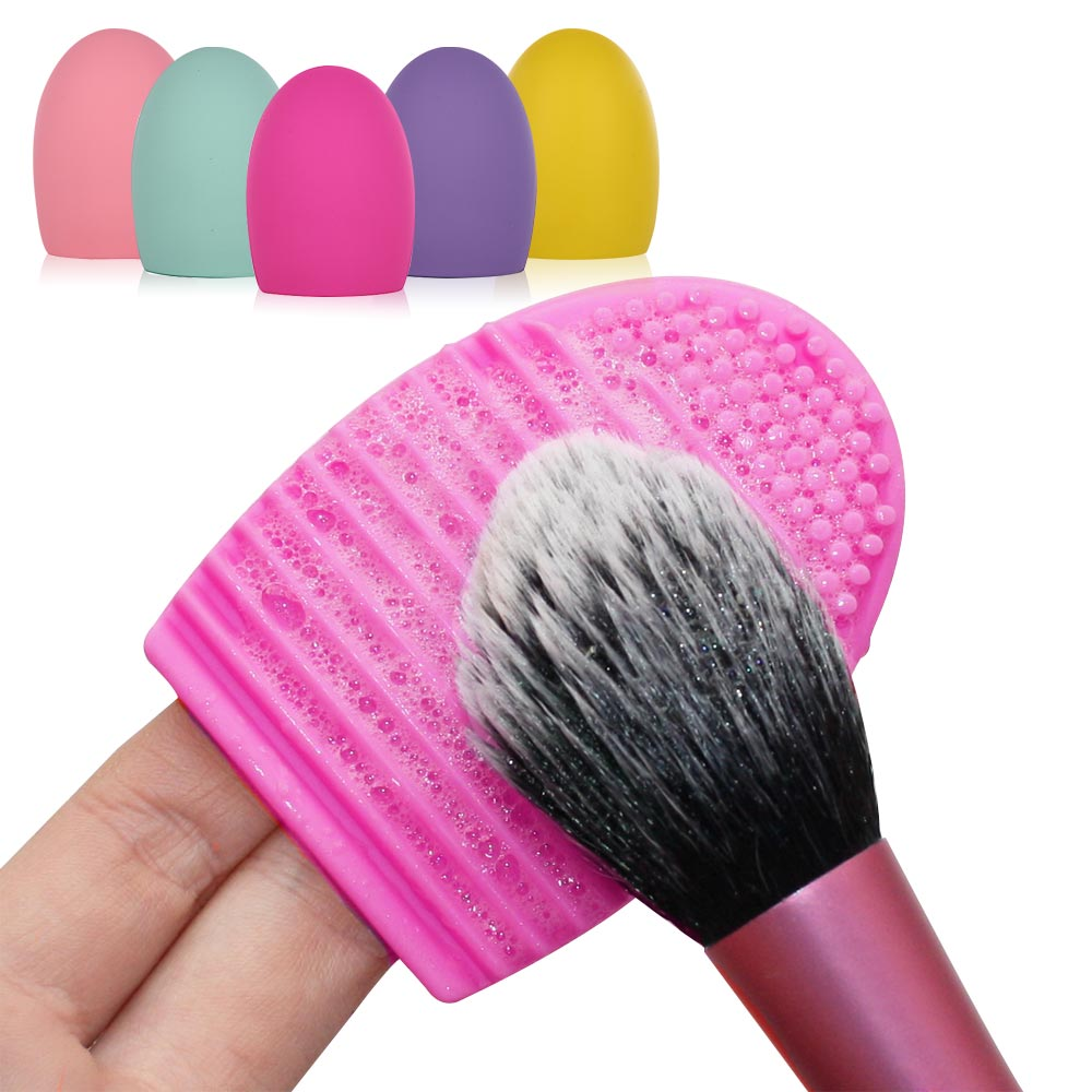 Colorful Silicone Makeup Brush Cleaning Washing Egg Comestic Brush Cleaner Glove Scrubber Board Makeup Brush Gel Washing Tool makeup brush cleaning palette 2pcs