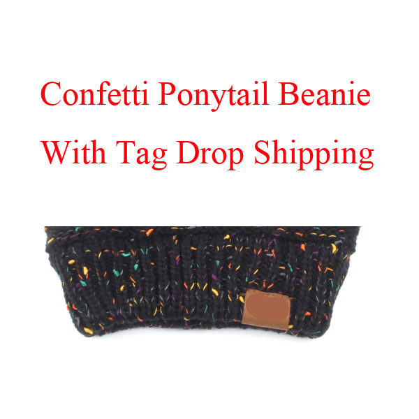 Drop Shipping Confetti Ponytail   Beanie   For Women Crochet Knit Cap   Skullies     Beanies   Warm Caps Female Knitted Stylish Hat Ladies