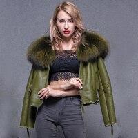 Real Fur Coat 2018 Natural Sheep Fur Coat Thick Warm Leather Jacket Winter Jacket Coat Women Large Real Raccoon Fur Collar Parka