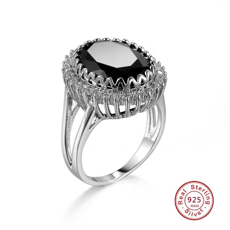 Black Spinel Sterling SILVER Ring 925 Trilogy Gemstone Rings Sizes L,5½ to V,10½