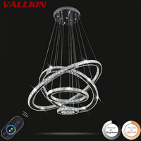 VALLKIN Dimmable LED Crystal Chandeliers Modern Pendant Lamp Hanging Lighting Fixtures For Living Room Hotel CE
