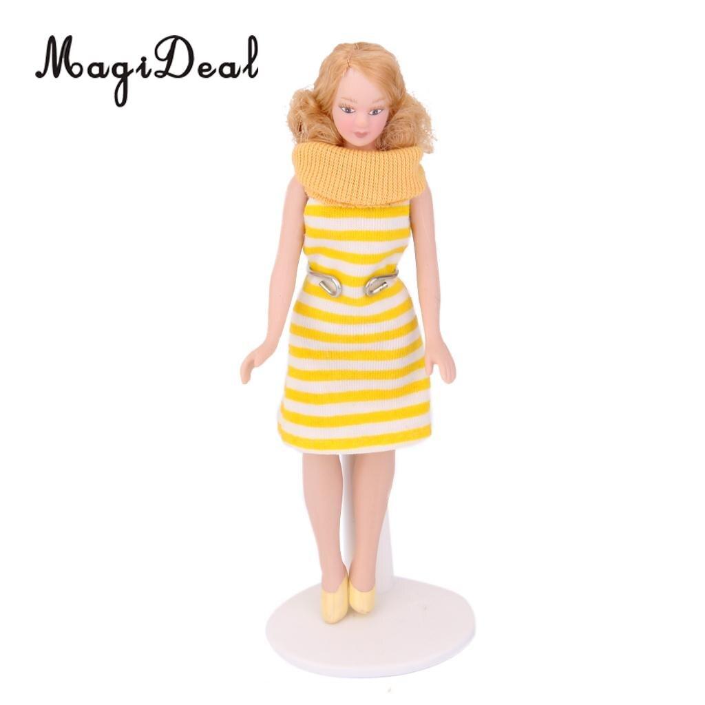 MagiDeal Beatifull Design Dollhouse Miniature Porcelain Doll Lady in Striped Dress for Bedroom Living Room Decor Children Toy 1