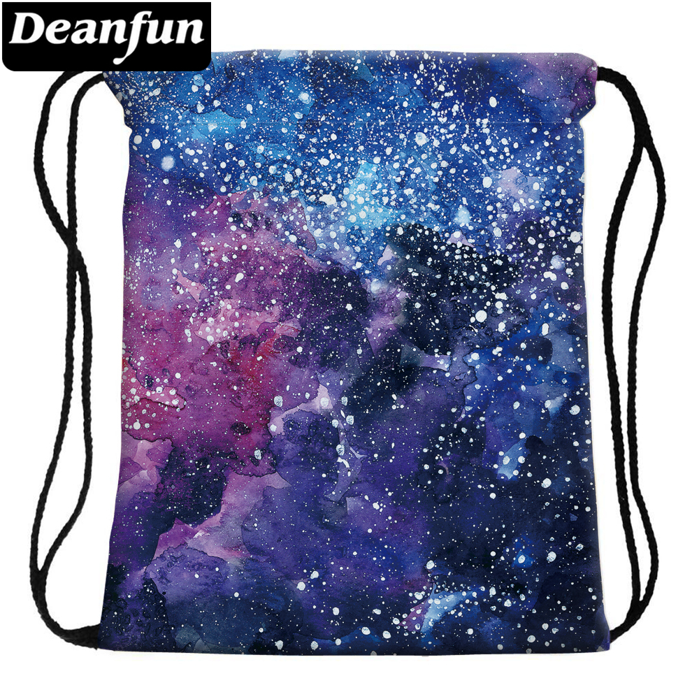 Deanfun Drawstring Bag Space Pattern Fashion for Men Travelling 60118 slimming drawstring hooded stripes pattern badge design color block long sleeves flocky hoodie for men