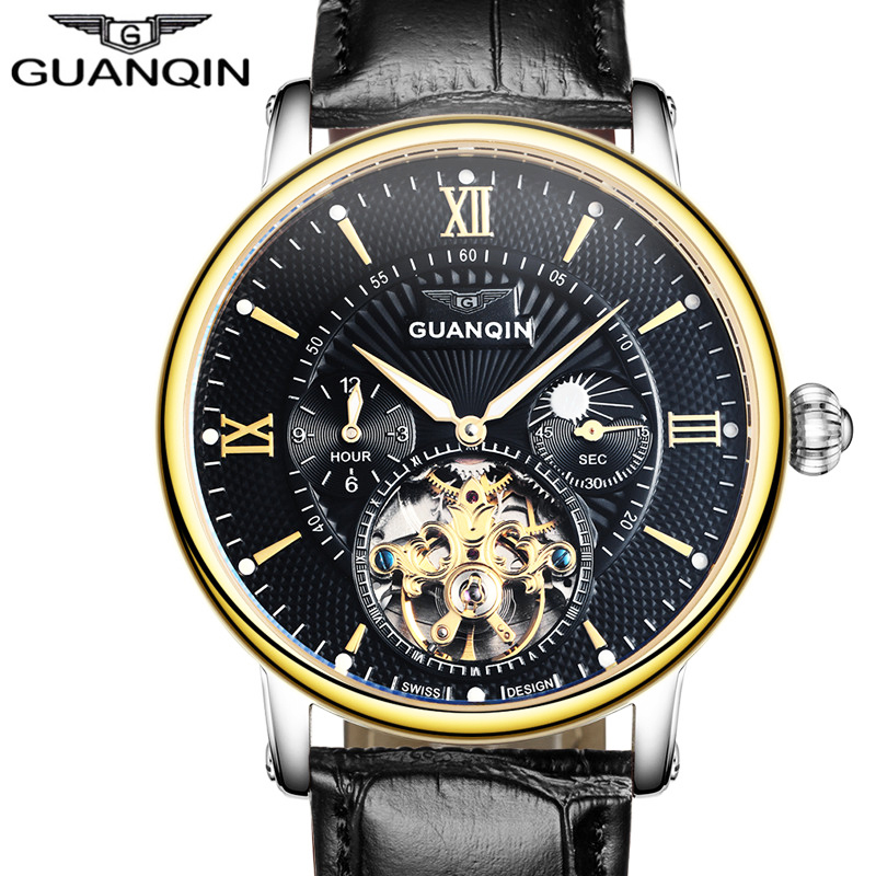 Relogio Masculino Guanqin Mens Watches Top Brand Luxury Tourbillon Skeleton Luminous Clock Men Casual Leather Mechanical