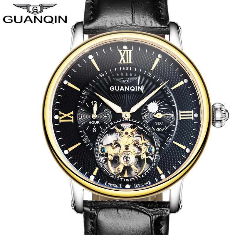 Relogio Masculino Guanqin Hommes Montres Top Marque De Luxe Tourbillon Squelette Lumineux Horloge Hommes Occasionnels En Cuir Mécanique Montre