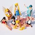 7 unids/lote Historieta Del Anime Sailor Moon Figura de Acción del PVC Modelo Juguetes Para Niños de Regalo kunai mascota